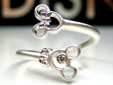 AUTH DISNEY MICKEY & MINNIE MOUSE STERLING SILVER PLATINUM CLAD RING + GIFT BOX