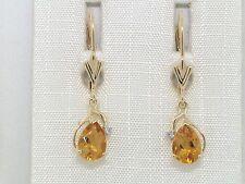 Citrin Ohrhänger 585 Gelbgold 14Kt Gold natürliche Citrine und  Brillanten
