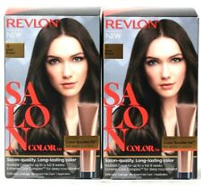 2 Boxes Revlon Salon Color 4 Dark Brown Long Last 100% Gray Cover Permanent Dye