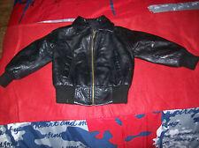 blouson plein cuir noir .t 4 ans .(1/V/F)