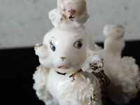 Antique Ceramic Made Japan Collector Figurine Animal Vintage Painted Dog Poodle