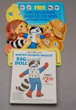 RARE! 1980 LAKE PLACID OLYMPICS RONI RACCOON DOLL CHIQUITA BANANA STORE DISPLAY
