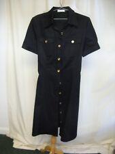 Ladies Dress Calvin Klein black cotton shirt dress UK 10, tie belt, buttons 2411