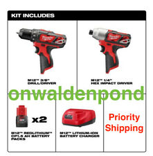 "MILWAUKEE M12 3/8"" DRILL + 1/4"" HEX IMPACT DRIVER 2462-20 2 BATTERY CHARGER SET"