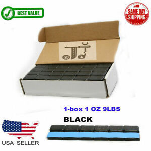 1 BOX 1 OZ BLACK WHEEL WEIGHTS STICK-ON ADHESIVE TAPE 9 LBS LEAD-FREE 144 PIECES