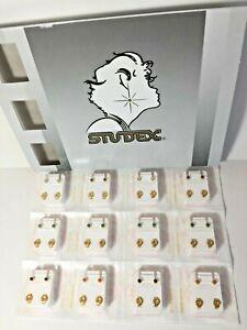 Studex Ear Piercing Earrings 12 Pair 4mm Reg. Gold Plated Pearl & Stones R313Y