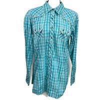 ARIAT Womens XXL Teal Green Fitted Long Sleeve Snap Button Down Western Shirt