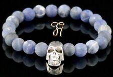 Sodalite Blue Matt 0 5/16in Bracelet Pearl Bracelet Silver-Coloured Skull