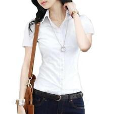 VANCY White shirt Womens smart casual blouse Ladies short sleeve Career Top Size