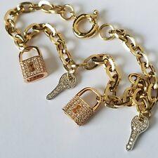 fefd610066dd 1.50 ct Woman s 14k yellow Gold lock key charm love Bracelet 7.5 Long