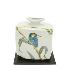 """1x Japanese 7.5""""H Kutani Kingfisher/Reed Vase  #510-569"""