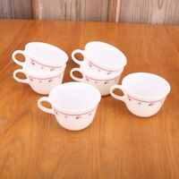 6 Vintage Corning Pyrex Coffee Tea Cups Red Dot Matrix Flowers