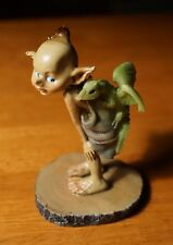 Realistic Garden Pixie Elf Fairy & Baby Dragon in Bag on Wood Stump Figurine New