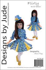"Flirty Dress Doll Clothes Sewing Pattern for 12"" Senson Dolls"