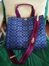 Coach navy pattern canvas tote bag detachable shoulder strap