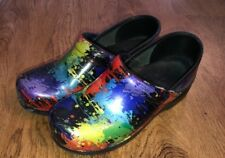 DANSKO WOMEN'S PROFESSIONAL CLOGS PAINT SPLATTER PATENT LEATHER CLOG SIZE 39