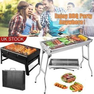 Folding BBQ Charcoal Barbecue Grill Garden Picnic Camping Stainless Steel Hiking