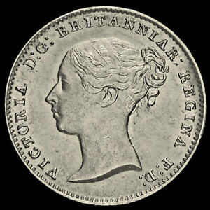 1854 Queen Victoria Young Head Silver Fourpence / Groat, 5 over 3, Rare