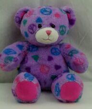 """Build-a-Bear Workshop 14"""" Purple Peace Sign Teddy Bear BABW Plush"""