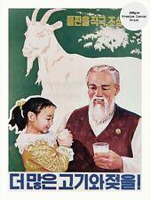 "North Korea Propaganda Poster on Canvas Print MORE MILK AND MEAT 18x24"""