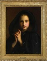 "Old Master Art Portrait Girl with Mantle Praying Oil Painting Unframed 30""x40"""
