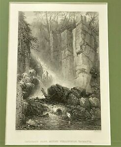 Framed 19thC Antique Lithograph by S.Proust: Cataract Glen Mount Wellington TAS