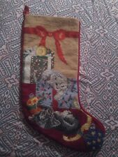 Vtg rare  Needlepoint Cats Kittens Christmas Stocking presents bows ornaments