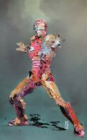 Original Abstract Iron Man Marvel Avengers Palette Knife Painting Comic Wall Art