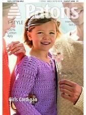 Patons 4068 Pattern Cotton 4PLY Knitting Girls Cardigan Intermediate Skill