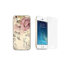 iPhone 5 / 5S / SE Coque transparente imprimée + 1 verre trempé - Pivoine Rose