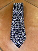 "Men's Vintage GIANNI VERSACE Blue Geometric Silk Neck Tie 60"" - 3.5"" ITALY"