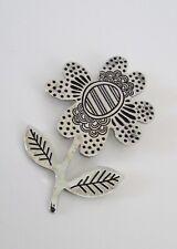 Flower Pin Brooch Gudrun Sjoden Sweden Silver