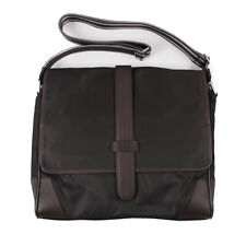 NWT $925 CANALI Dark Brown Nylon and Leather Shoulder Messenger Day Bag