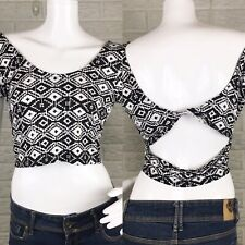 Kirra Womens Crop Top Medium Black White Open Knotted Back Festival Geometric