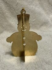 """Danbury Mint Vintage Gold Plated Christmas Tree Ornament """"Snowman"""" Made in 1977"""