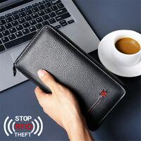 Mens Passport Holder Wallet Leather RFID Travel Document ID Card Organizer Bag
