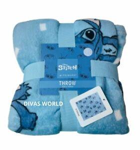 Disney Lilo and Stitch Blanket Cozy Fleece Blue Throw 120x150cm Primark