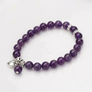 Amethyst Bracelet Ladies Women Reiki Chakra Anxiety Stress Heart Charm UK Seller