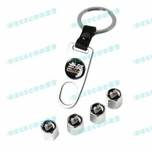 New For Mugen Power Car Wheel Tire Valves Dust Stem Air Caps Keychain Emblem Set