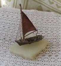 """Vintage 1975 Jim Lewk Sailboat Boat Sculpture 7"""" Signed Folk Art Copper Ship NR"""