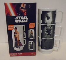 "STAR WARS ""STACKING MUG SET"" Han Solo Slave Leia Lando ceramic 8 oz mugs NEW"