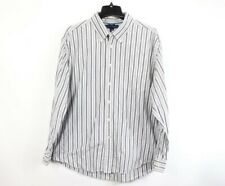 Tommy Hilfiger Mens XL Long Sleeve Button Front Casual Dress Shirt Striped Blue