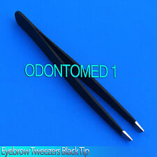 "New 3.5"" Eyebrow Tweezers SLANTED Precision Tip - SOLID CLASSIC Design,Black"
