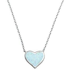 Opal Heart Necklace set in Solid Sterling Silver w/chain