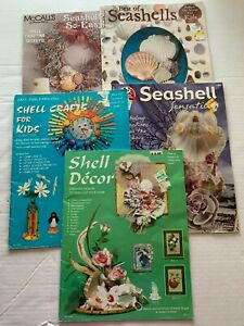 Vtg Seashell Crafting Book LOT of 5 Frames Decor Lamp Wreath Candle Box Magnet