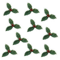 Anniversary House : Green Holly Cake Pick (10 Pieces)
