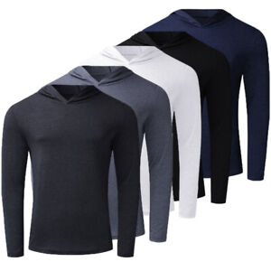 UK Mens Long Sleeve Muscle Bodybuilding Hoodies Tops Gym Hooded T Shirt Jumper