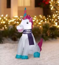 Christmas Holiday 2018 Unicorn Inflatable 4ft Indoor/Outdoor Airblown Yard Decor