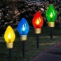 Set of 4 Lighted Multi Color Retro C7 Light Shape Christmas Pathway Markers