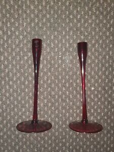 Red Glass Single Candle Holder X2